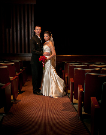 Bride and groom in the theater of the contemporary arts center in Virginia Beach for a summer wedding