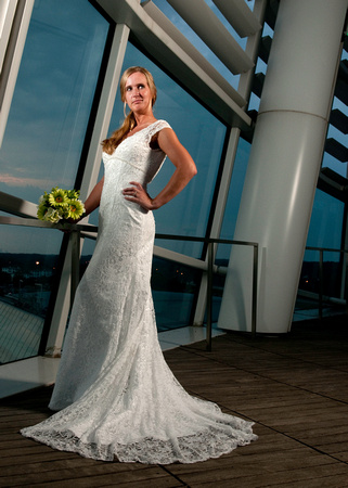 Bride at the convention center in Virginia Beach Virginia during a wedding posing for a portrait